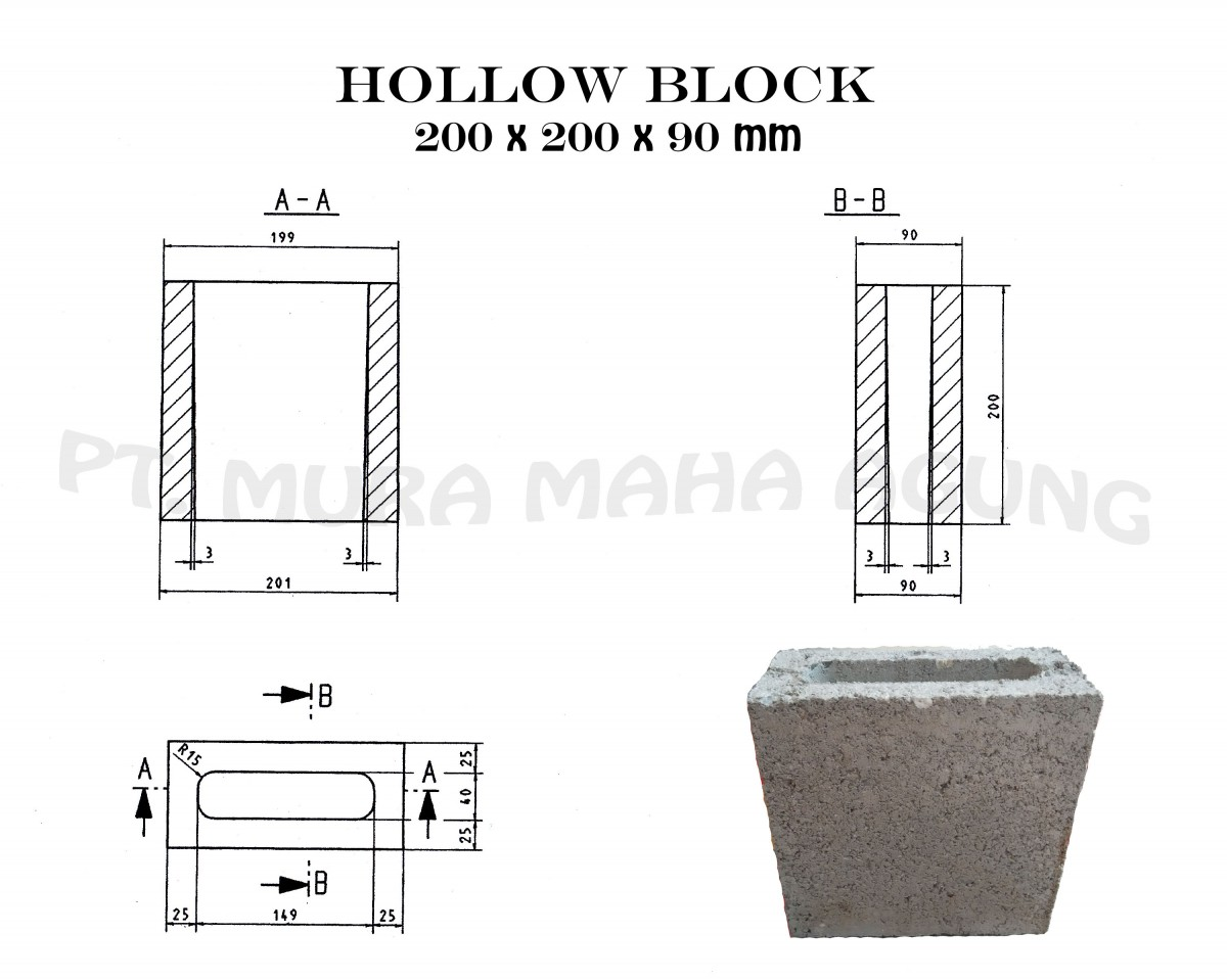 Hollow Block 200 x 200x 90 mm Image