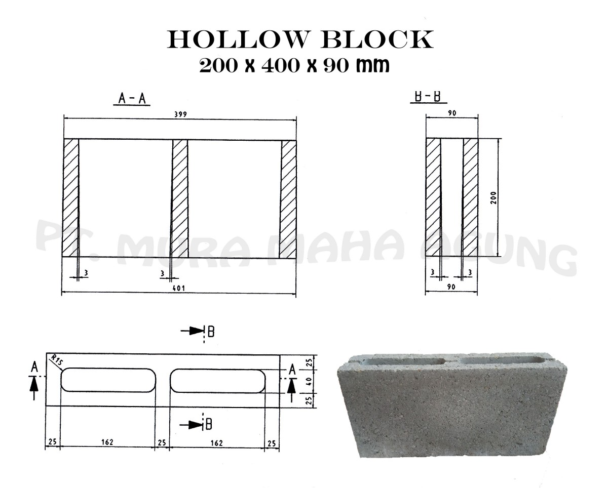 Hollow Block 200 x 400 x 90 mm Image