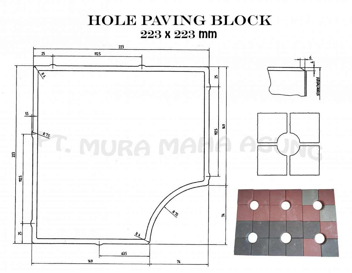 Hole Paving Block 223x223 mm Image