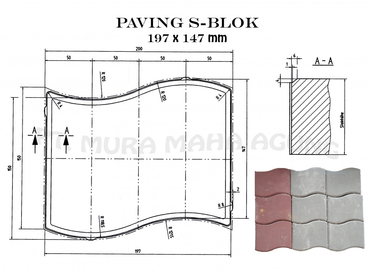 Paving S-Blok 197x147 mm Image